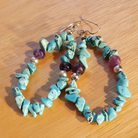 naturesvintagejewels Jewelry - Turquoise and amethyst sterling earrings